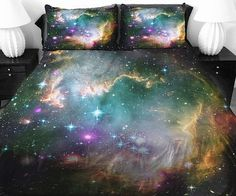 Rocket off to dreamland in comfort and style on the galaxy bed covers. These handmade satin covers feature a dazzling image of the universe printed onto the surface of the comforter and pillow cases so that you're surrounded by the cosmos as you slumber.