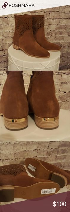 """Michael Kors boots Caramel colored leather boots with laser cut details at top. 3/4"""" heel. Boots are 8.5"""" tall. No box included. Michael Kors Shoes Heeled Boots"""