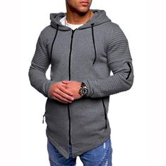 9ea9438505c Men Casual Autumn Long Sleeve Slim Zipper Solid Color Hooded Coat Tops  Blouse