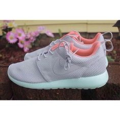 Shoes: Nike running roshe run wolf grey light pink baby blue