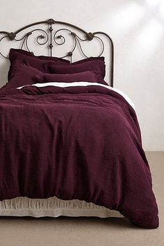 Soft-Washed Linen Duvet Cover by Anthropologie in Purple, Bedding