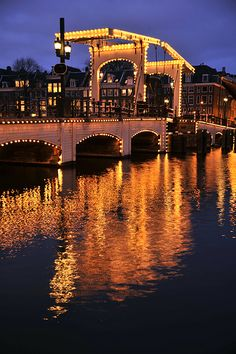 "Magere Brug (""Skinny Bridge"") n Amstel River, Jordaan, Amsterdam, North Holland_ Netherlands - pretty much the view from my bed!!"