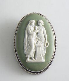 Vintage Silver Wedgwood Green Jasperware Cameo Brooch