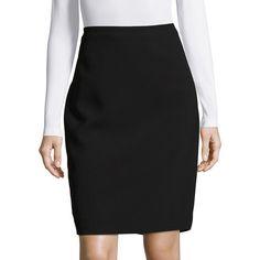 Karl Lagerfeld Paris Crepe Pencil Skirt ($80) ❤ liked on Polyvore featuring skirts, black, crepe pencil skirt, long skirts, long crepe skirt, pencil skirts and crepe skirt