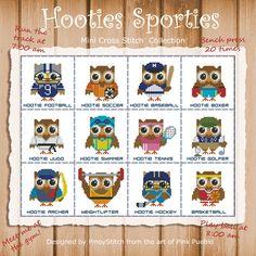 Hooties Sporties Mini collezione di PinoyStitch su Etsy