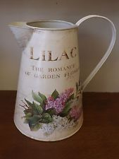 Shabby Vintage Chic Lilac Romance of Garden Flowers Cream Metal Jug Pitcher