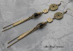 Bijou Créateur - Boucles d'oreilles pendantes bronze Intercalaires et breloques tiges antiques Perles semi-précieuses Onyx noir mat : Boucles d'oreille par alextreize-creation