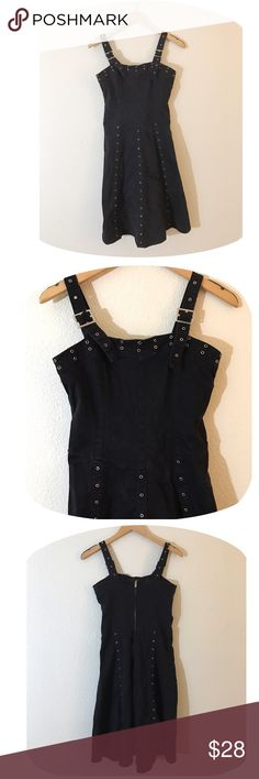 """•90's VTG Eyelet Goth Overall Dress• •MEASUREMENTS• Bust-30"""" Length- adjustable  •DETAILS • •Stretchy heavy weight cotton fabric• adjustable shoulder straps • zip back• tagged as size medium, could fit size small nicely as well due to stretchy nature of fabric• Brand is """" Tripp NYC""""•  •NO TRADES•❌NOT UNIF❌•NOT MODELING•  #90s #vintage #grunge #goth #tank #overall #club #industrial #y2k #streetstyle #trippnyc #tripp UNIF Dresses Midi"""