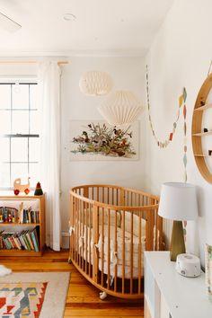Erin Kelly Pittsburgh Craftsman Home Tour bohemian nursery ideas // wood paneled crib Baby Bedroom, Baby Room Decor, Nursery Room, Nursery Office, Best Baby Cribs, Best Crib, Unique Baby Cribs, Baby Room Design, Nursery Design