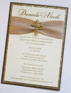 Gold  Baptism-Communion Invitation with by atouchofsunshine4