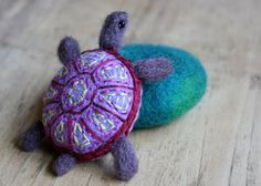 a stone turtle  This MN artist creates magic with felted stones!