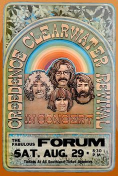 Tour Posters, Band Posters, Rock N Roll Music, Rock And Roll, Beatles, Show Ao Vivo, Retro Band, Vintage Concert Posters, Creedence Clearwater Revival
