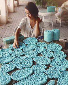 Blue Autumn Leaf  #susimiu #handmade #blue #cute #crochet #ganchillo #trapillo #design #autumn #xxl #kids
