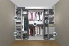 Smaller wall closet idea. Lose the shoes space, lower the rods, create more shelves for undies and make up + accessories station