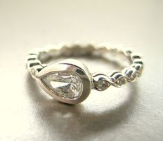 Pear Shape engagement ring.   White sapphire 14k by ValerieKStudio