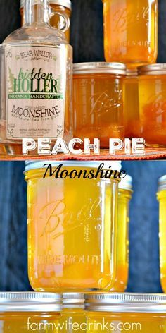Peach Pie Moonshine, the perfect mason jar gift for the most important people in your life who need a stiff drink. Party Drinks, Cocktail Drinks, Fun Drinks, Yummy Drinks, Alcoholic Drinks, Bourbon Drinks, Liquor Drinks, Mixed Drinks, Mason Jar Cocktails
