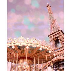 Paris Photography, Eiffel Tower Photography, Paris Carousel, Pastel, Pink Paris Print, Bokeh featuring polyvore, home, home decor, wall art, backgrounds, paris, icons, other, pictures, pink wall art, framed picture, paris home decor, eiffel tower wall art and paris picture
