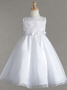 Simple yet elegant Organza flower girl dress with sheer illusion neckline and a detachable thin ribbon sash.