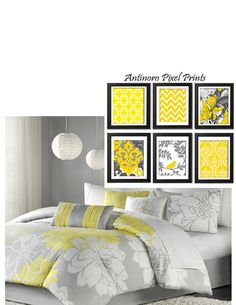 Yellow Greys White Wall Art Vintage / by antinoropixelprints, $45.00