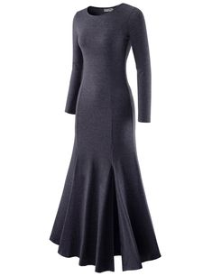 (NKWLD18) TheLees Womens Fitted Crewneck Soft One-piece Front Slit Maxi Dress