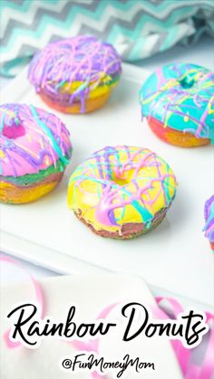 Rainbow Desserts, Rainbow Treats, Colorful Desserts, Cute Desserts, Fun Baking Recipes, Bakery Recipes, Dessert Recipes, Cooking Recipes, Rainbow Donut