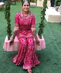 This outfit is perfect for mehndi occasions. Get this customized hand embroidered mehndi outfit from nivetas design studio Contact us on… Desi Wedding Dresses, Pakistani Wedding Outfits, Indian Bridal Outfits, Indian Designer Outfits, Party Wear Dresses, Pakistani Dresses, Indian Dresses, Ceremony Dresses, Mehndi Outfit