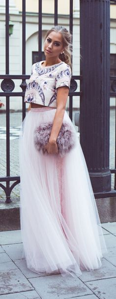 Pink Tulle Maxi Skirt + Crop Top More