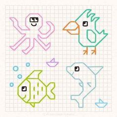Easy Heart Drawings, Easy Disney Drawings, Easy Drawings For Kids, Colorful Drawings, Art Drawings Beautiful, Cute Drawings, Graph Paper Drawings, Graph Paper Art, Drawing Games For Kids