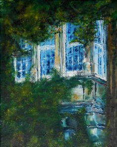 """Öl Gemälde Kanvas Handgemalt Burg Neuhaus Impressionismus Fenster Mauer direkt, """"Wasserburg Neuhaus 2"""" Hajewski Gc, Öl, kanvas, Größe:30x24cm,"""