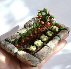 Miniature Garden, Dollhouse garden, Miniature Vegetable ,to order,dollhouse…Z Miniature Plants, Miniature Houses, Miniature Fairy Gardens, Miniature Food, Miniature Dolls, Clay Miniatures, Dollhouse Miniatures, Castle Dollhouse, Dollhouse Ideas