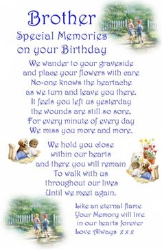Birthday Memorial Cards For Brother