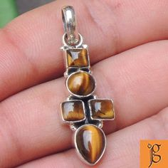 MAJESTIC BROWN TIGERS EYE .925 STERLING SILVER PENDANT JEWELRY P0024