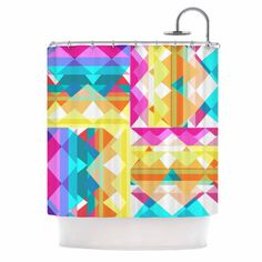 miranda mol triangle checker pastel rainbow shower curtain kessinhosue kess showercurtains homedecor mirandamol