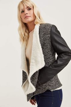 Shop new arrivals at Ardene for a variety of tops, bottoms, dresses, lingerie, shoes and accessories. New styles drop daily for constant new trends to love. Free Clothes, Clothes For Women, Waterfall Jacket, New Trends, Winter Fashion, Long Sleeve, Model, Jackets, Outfits