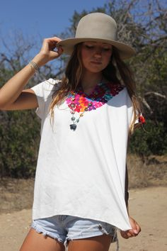 Vintage Hand Embroidered Mexican Blouse