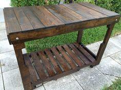 Pallet wood kitchen cart on locking casters.