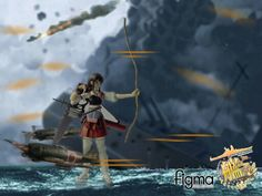 Figma Akagi, tweaked with photoshop to depict a fierce naval battle.