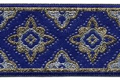 """1 7/8"""" Royal Blue, Gold & Silver Sewing Trim ~ one of our customer favorites."""