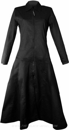 Long black women's coat by Hard Leather Stuff made from 100
