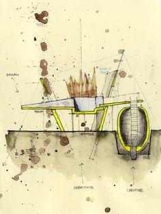 Mimari maket,eskiz ve pafta örnekleri. Example of Architectural Sketches and Models Architecture Drawings, Architecture Photo, Architecture Graphics, Chinese Architecture, Modern Architecture, Cad Drawing, Drawing Sketches, Sketching, Drawing Skills