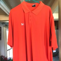 Under Armour Polo Shirt 95% polyester and 5% Elastane XL orange.  Gently used and in excellent condition Under Armour Tops