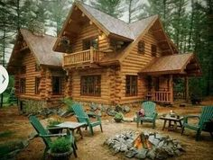 I dream of living in a lake house or a beautiful rustic cabin in the woods Log Cabin Living, Log Cabin Homes, Log Cabins, Cabin In The Woods, Mountain Homes, Mountain Living, Cabins And Cottages, Cozy Cabin, My Dream Home