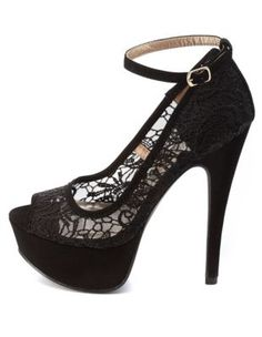 Lace Peep Toe Platform Pumps by Charlotte Russe - Black from Charlotte Russe