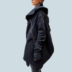 Women Autumn Winter Fashion Asymmetrical hem Hooded Coat Solid Outwear Jacket Zipper Hoodies Sweats Sweatshirt Plus Size Tops #Brand #ZANZEA #sweaters #women_clothing #stylish_dresses #style #fashion
