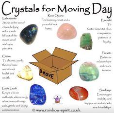 Crystals For Moving Day Chakra Crystals, Crystals Minerals, Rocks And Minerals, Crystals And Gemstones, Stones And Crystals, Healing Gemstones, Gem Stones, Crystal Guide, Crystal Magic