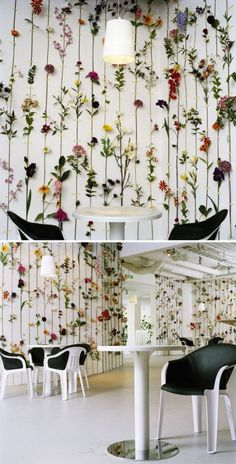 I want a wLl of flowers or plantsoutside my house maube in a shed wall. An installation of silk and plastic flowers simply mounted on walls by Swedish design group Front. Diy Girlande, Deco Studio, Bedroom Decor, Wall Decor, Deco Floral, Plastic Flowers, Swedish Design, Deco Design, Artificial Plants