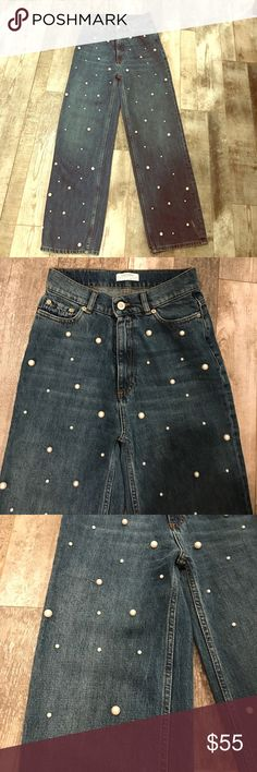 Zara Pearl Jeans size 34 2 MINT condition Brand new without tags Zara denim with pearls, SOLD OUT EVERY WHERE SIZE 34/2 Zara Jeans Flare & Wide Leg