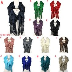 women winter warm waved shaped pendant jewelry necklace scarf 13 colors, NL-1932