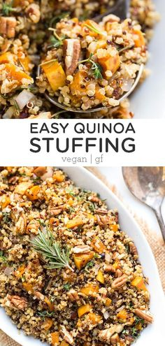 VEGAN THANKSGIVING RECIPES A gluten-free, vegan QUINOA Stuffing recipe! Quinoa makes a healthy alternative to traditional stuffing. This easy homemade recipe is great for serving your families or a crowd at Thanksgiving or the holidays! Healthy Holiday Recipes, Easy Homemade Recipes, Vegetarian Recipes, Fall Recipes, Gluten Free Stuffing, Vegan Stuffing, Clean Eating, Crunch, Vegan Thanksgiving