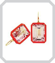James de Givenchy for Taffin 18K rose gold, amethyst and Bakelite ear pendants